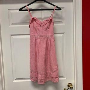 American Eagle Pink Seersucker Sun Dress sz 4